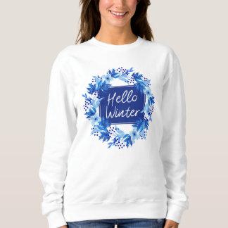 Moletom Olá! das mulheres azuis da flor do inverno a