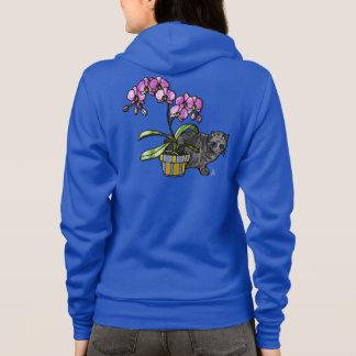 Moletom Orquídea e gatinho fúcsia