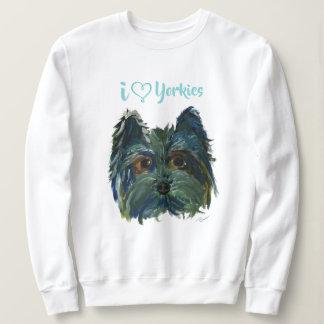 Moletom Pintura bonito do pop art de Yorkie do cão no azul