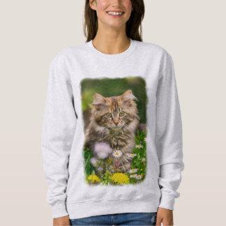 Moletom Prado bonito da flor do gato do gatinho do racum