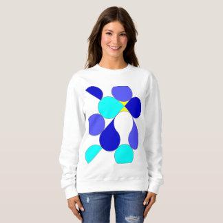 Moletom Sweat-shirt mulher motivo geométrico azul e