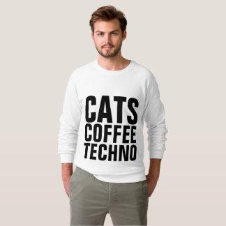 Moletom T-shirt da música do CAFÉ TECHNO dos GATOS