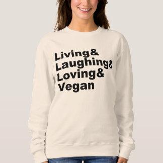 Moletom Vida e riso e amor e Vegan (preto)