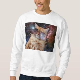 Moletom Vidros do gato - gato dos óculos de sol - espaço