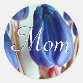 Mom Blue Tulips Sticker Stickers