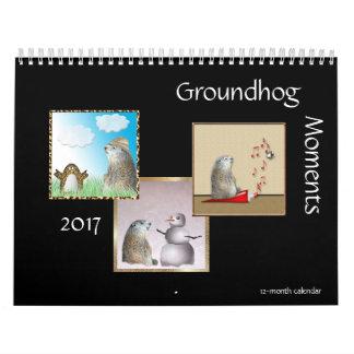 Momentos de Groundhog calendário de 2017 12-Meses