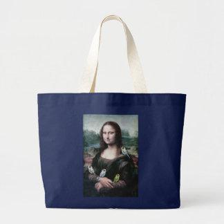 Mona Lisa & Budgies Bolsa Tote Grande