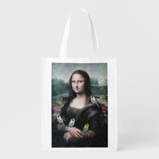 Mona Lisa & Budgies Sacolas Ecológicas Para Supermercado