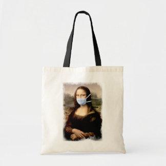 Mona Lisa com máscara da Vinci que Spoofing as Sacola Tote Budget
