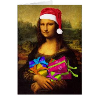 Mona Lisa Papai Noel Cartão
