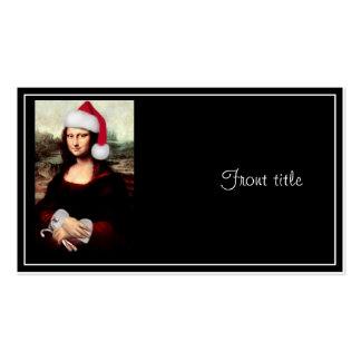 Mona Lisa que veste um chapéu do papai noel Cartão De Visita