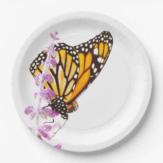 Monarca empoleirado na lavanda prato de papel