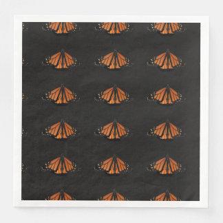 Monarca na chave da laranja e do preto guardanapo de papel de jantar