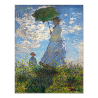 Monet a mulher do passeio com um parasol convites personalizado