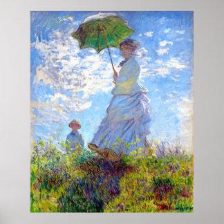 Monet: Mulher com ~ impressionista da arte do para Pôsteres