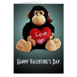 Monkey ao redor o cartão do dia dos namorados