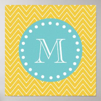 Monograma amarelo da cerceta do teste padrão de poster