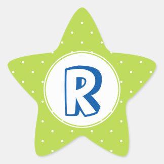 Monograma amarelo vermelho do miúdo das bolinhas adesito estrela