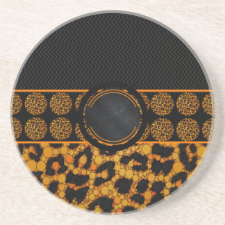 Monograma animal extravagante do impressão porta copos de arenito