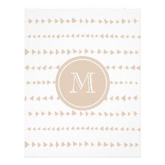 Monograma asteca branco bege das setas panfleto personalizados