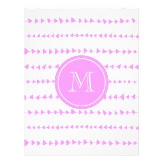 Monograma asteca branco cor-de-rosa das setas modelo de panfleto