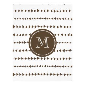 Monograma asteca branco das setas de Brown Modelo De Panfletos