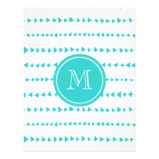Monograma asteca branco das setas do Aqua Modelo De Panfletos