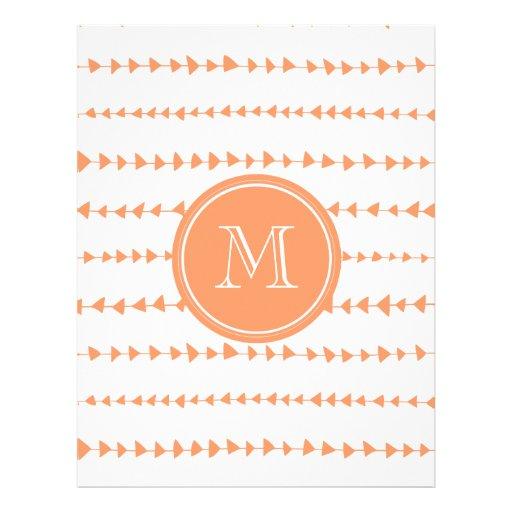 Monograma asteca branco das setas do pêssego panfleto personalizados