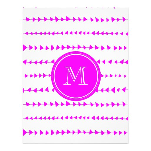Monograma asteca branco das setas do rosa quente panfletos personalizados