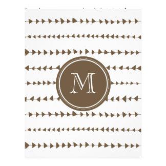 Monograma asteca branco das setas do Taupe Panfleto Personalizados