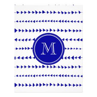 Monograma asteca branco das setas dos azuis marinh modelo de panfleto