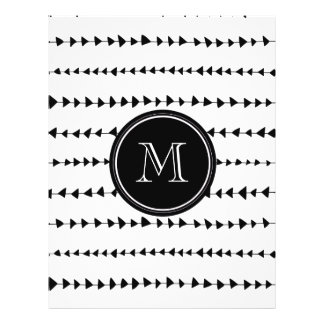Monograma asteca branco preto das setas panfleto personalizados