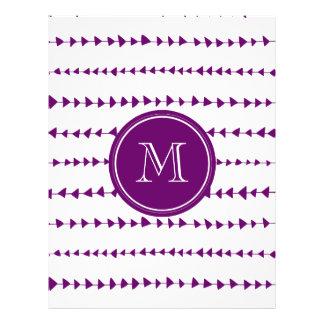 Monograma asteca branco roxo das setas modelo de panfletos