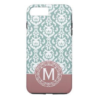 Monograma azul cor-de-rosa do damasco capa iPhone 7 plus