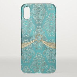 Monograma azul do damasco do vintage do Aqua doce Capa Para iPhone X