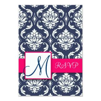 Monograma azul do damasco que Wedding o rosa de Convite 8.89 X 12.7cm