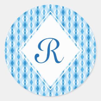 Monograma azul do diamante adesivo redondo