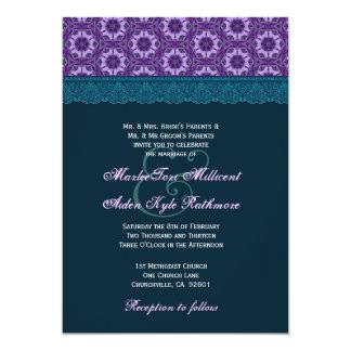 Monograma azul e roxo da cerceta TT018 do laço do Convite Personalizados