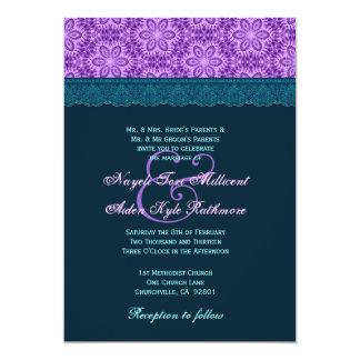 Monograma azul e roxo da cerceta TT023 do laço do Convite
