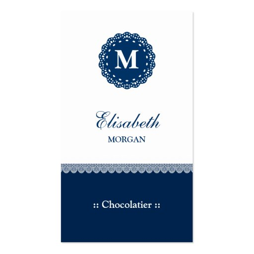 Monograma azul elegante do laço de Chocolatier Cartoes De Visitas