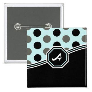 Monograma azul & preto boton
