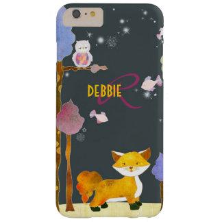 Monograma bonito do Fox da floresta Capas iPhone 6 Plus Barely There