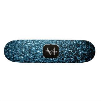 Monograma bonito dos sparkles do brilho dos azuis shape de skate 18,4cm