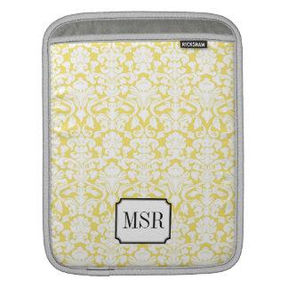 Monograma branco amarelo da letra da cor damasco 3 bolsa de iPad