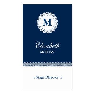 Monograma branco azul do diretor de palco laço cartão de visita