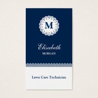 Monograma branco azul do laço do técnico do cartão de visitas