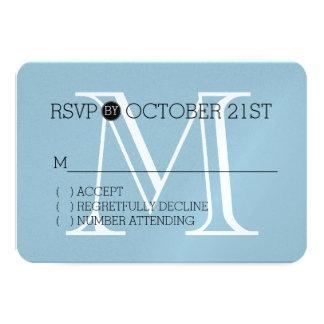 Monograma branco azul RSVP Convite 8.89 X 12.7cm