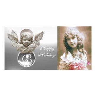 Monograma branco da gema do ANJO FLORENTINO do Cartão Com Foto