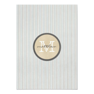 monograma branco da listra do Pin do marrom azul Convite 12.7 X 17.78cm