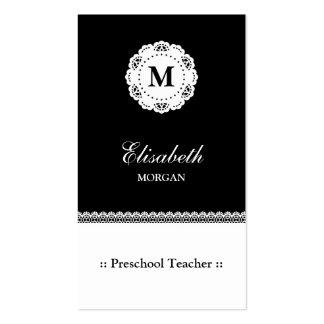 Monograma branco do laço do preto pré-escolar do cartão de visita